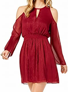 Rachel Zoe Womens Keyhole Cold-Shoulder Party Dress