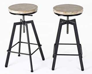 URANMOLE Industrial Bar Stools/Chairs for Bistro Pub Breakfast Kitchen Coffee, Round Wood Seat, Metal Legs, Bar/Counter Height Adjustable Swivel, Set of 2