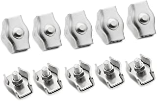 Yoohey 10pcs M5 Simplex Single Bolt Wire Rope Clip 304 Stainless Steel Cable Clamps for 3-4mm Diameter Wire Rope