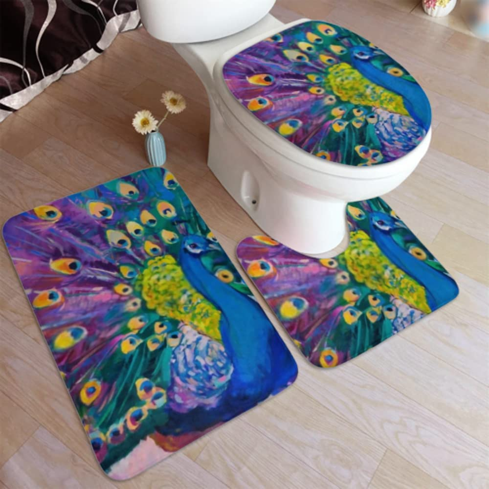 Genuine Free Shipping Bath Mat Original Oil Painting low-pricing On 3 Piece Lavender Canvas Bathro