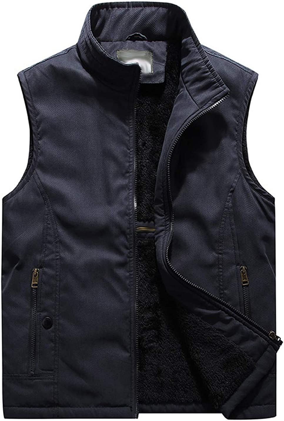 Hongsui Men's Winter Stand-collar Fleece Outdoor Vest Multi-pocket Warm Jacket