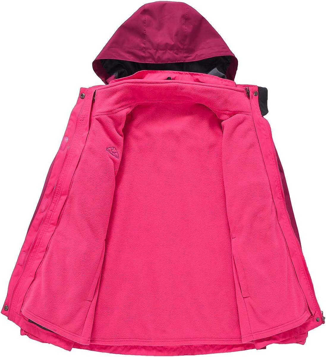 donhobo Damen Outdoor 3-in-1 Skijacke mit Fleecejacke wasserdichte Regenjacke Winddicht Warm Winterjacke Doppeljacke Funktionsjacke mit Abnehmbare Kapuze Rosa