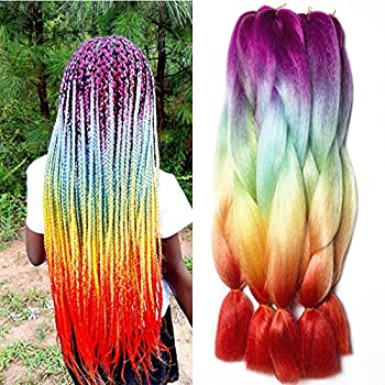 Ombre Braiding Hair Extension Synthetic Kanekalon Jumbo Box Braids Rainbow Crochet Braiding Hair Bundles 3Pcs/lot