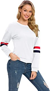 Women's Round Neck Pullover Sweatshirt Long Sleeve T Shirts Casual Loose Tunic Tops Blouse