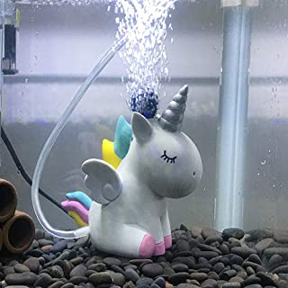 Fish Tank Decorations Aquarium Decoration Small Ornaments Accessories Fish Hides Air Stone Cute Unicorn (Unicorn-Air-Stone)