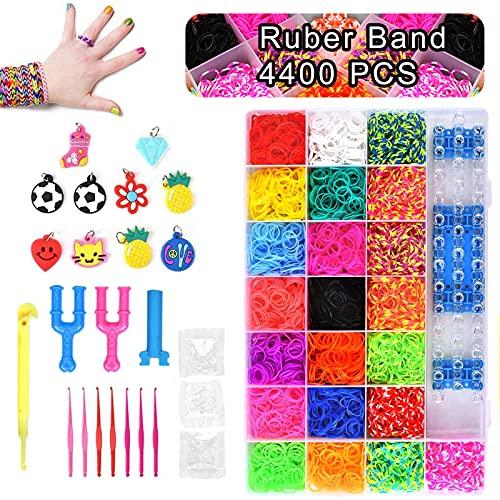 DIY Pulseras Gomas, Gomas para Pulseras de Colores 22 Colores + Muchos Pequeños Accesorios, los Mejores Regalos(4400,)