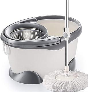 Home Spin Mop Bucket with Wringer System Cleaner Mop Seco Y Mojado Manos Libres Limpieza del Piso Mop,Gray