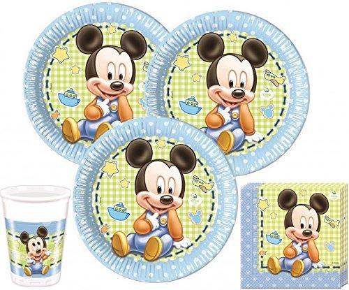 Disney Baby Mickey Juego de decoración para fiestas para 16 personas (52 piezas)