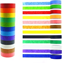 Jyongmer 12 Rolls Washi Masking Tape Set, 15mm x 16.5ft Colorful Rainbow Tape Decorative Writable Tape for Label, Party Game, Scrapbook, Art DIY Craft School Supplies