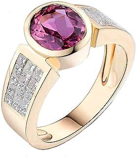 Daesar Anelli Oro Giallo Donna 18Kt, Anello Promessa Matrimonio Anello Tormalina Donna 1.6ct Rotonda con Diamante 1.08ct A...
