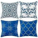 Fundas de Almohada Fundas de cojín Mandala Vintage Azul 18 x 18 Pulgadas Funda de...