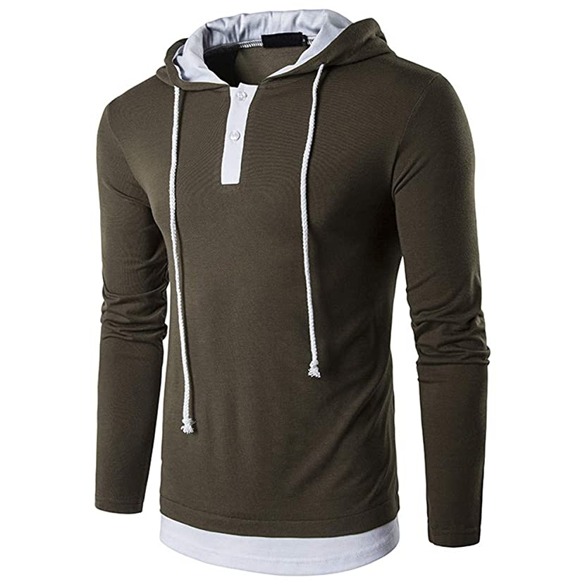 GOVOW Men's Long Sleeve T-Shirts Cotton Patchwork Hoodie Hooded Sweatshirt Top Outwear Blouse 3Pc Set