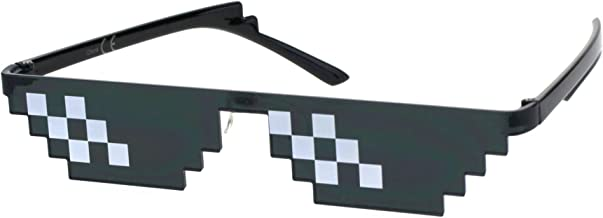 Flat Top Narrow Cat Eye Pixel Funky Party Shade Rimless Shield Sunglasses Black