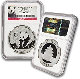 2012 CN 1oz Chinese Silver Panda Coin 10Yn MS70 NGC Early Releases-Panda Label