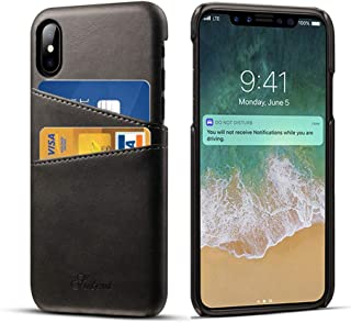 Compatible 2018 5.8 inch New iPhone, DEMEDO iPhone X & iPhone Xs Leather Case with Cards Holder, 2 Credit Card ID Card Slots, Ultra Slim Protective Phone Case for iPhone Xs & iPhone X, Black