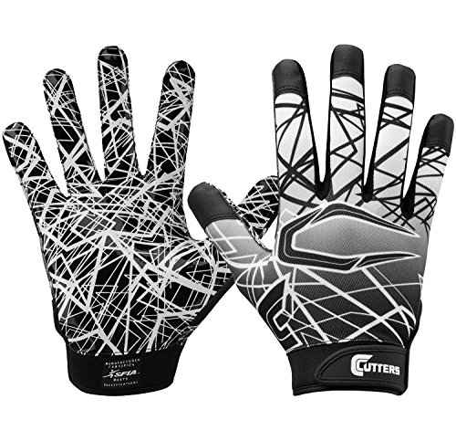 Cutters Game Day Football Glove, Silicone Grip Receiver Glove. Youth & Adult Sizes (1 Pair), Black, Large (S150-01-34)