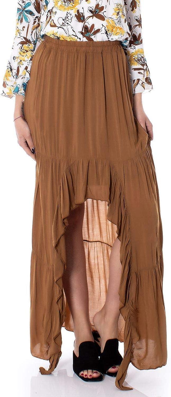 I Am Women's A88124BROWN Brown Viscose Skirt