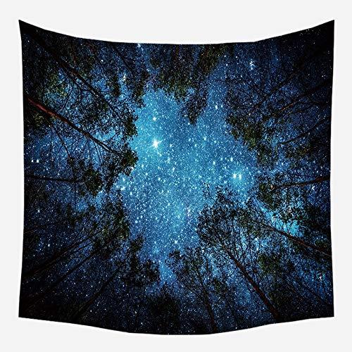 Tapiz de pared de naturaleza árbol bosque cielo estrellado tapiz de tela de pared psicodélico Mandala Tapiz tapiz de paisaje A18 180x200cm