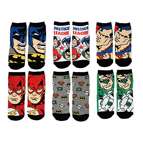 DC Comics Toddler Or Little Boys Justice League Crew Socks, Multicolored, 3T/4T, 6-Pack