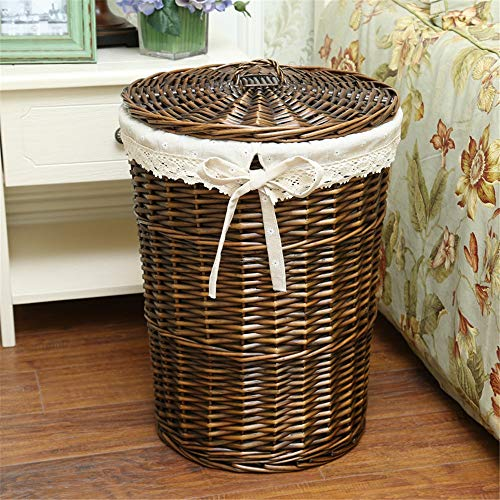 Storage Basket Handmade Wicker Printed Storage Baskets with Liner,Decorative Home Storage Bins Baskets Organizing Baskets Storage Baskets Nursery Organiser (Color : Gray, Size : 29x43x35cm)