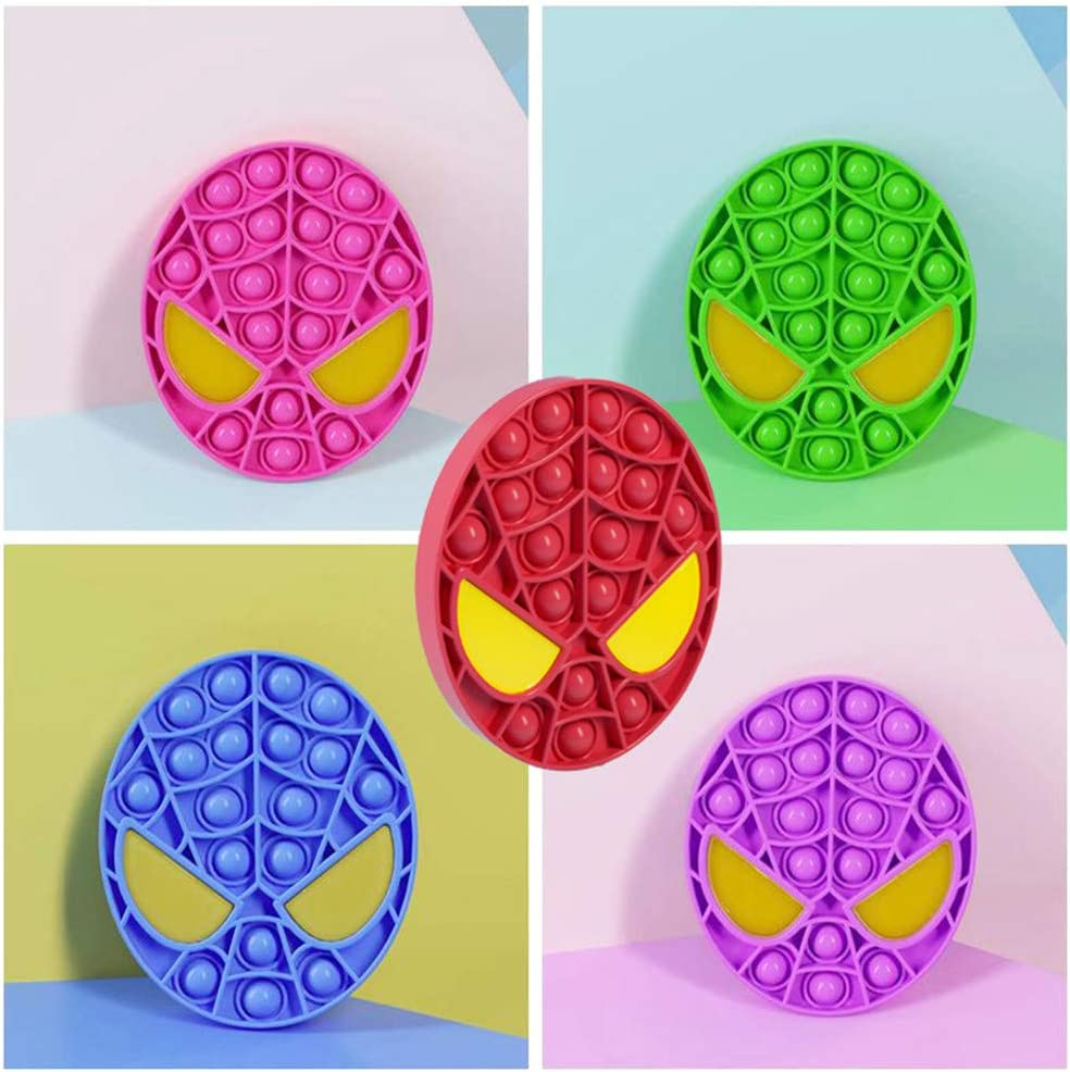 ADHD or Autism,Educational Game Toy Gift for Kids Red Cute Spider Mask Push Pop Bubble Fidget Sensory Toy Silicone Stress Reliever Push Pop Fidget Toy Squeeze Sensory Toy for Kids with ADD