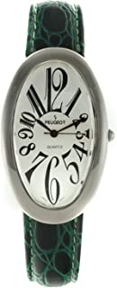 Peugeot Women Large Oval Watch - Easy Reader with Large Arabic Numerals and Leather Band