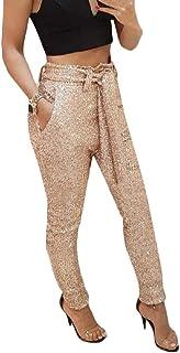 Womens Sequins High Waist Paper Bag Trousers Pant
