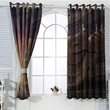 Gloria Johnson Kidsbedroom curtainsGrommet Window CurtainNursery Room Design with Fairytale Prince Charming with a Castle Birds Children Printdoorway curtainMulticolor72 x 63 inch