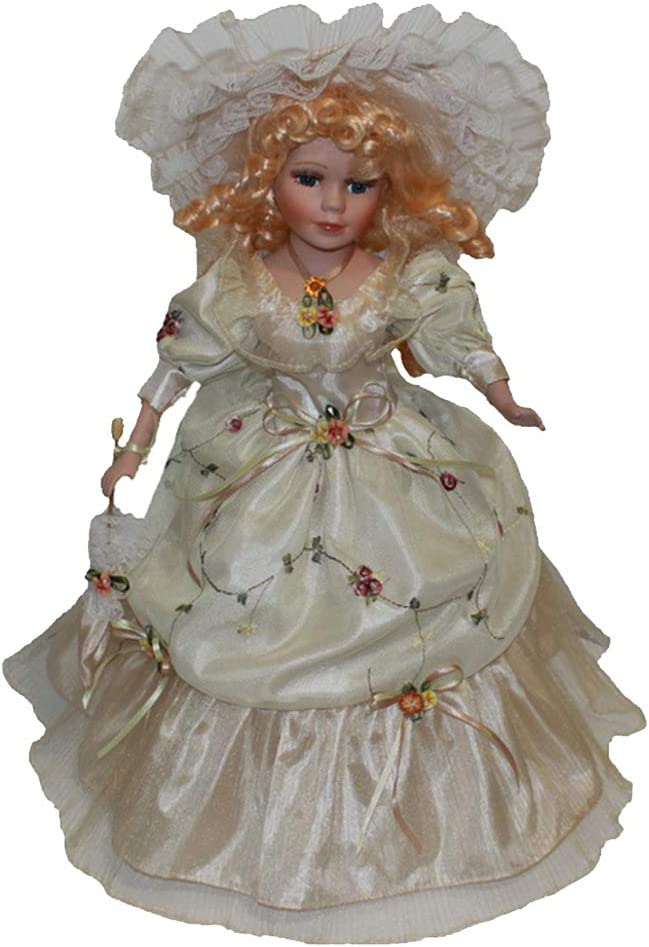 Attention brand Victorian Porcelain Doll 16 inch Standing Beige with Gow Overlay Rapid rise