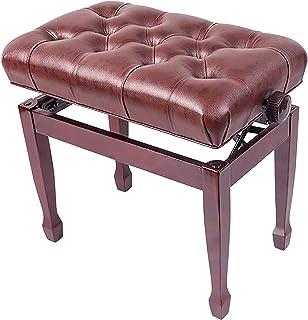 QDY Deluxe Pianobänk justerbar tangentbordspall med vattentät kudde Trä konstläderpianopall med lastkapacitet upp till 180 kg