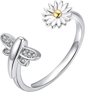 Waysles Opal Ring/Butterfly Ring/Butterfly Crystal Ring/Dragonfly Flower Ring for Women, 925 Sterling Silver Promise Ring ...