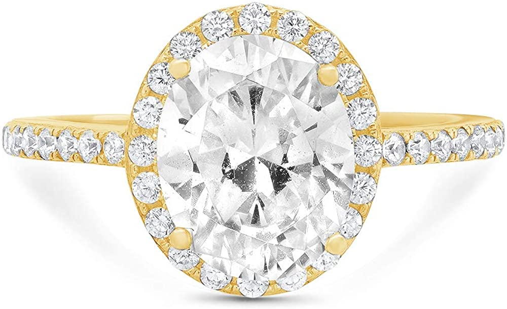 2.86 ct Brilliant Oval Cut Solitaire with Accent Halo Genuine Moissanite Ideal VVS1 Simulated Diamond Engagement Promise Statement Anniversary Bridal Wedding Ring Solid 14k Yellow Gold