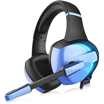 【虹色 LED 】 ゲーミングヘッドセット ps4 ヘッドセット GM-7 LED マイク付き 有線 軽量 通気 高音質 ノイズキャンセリング ゲーミングヘッドホン 重低音強化 騒音 抑制 伸縮可能 3.5mm switch FPS ゲーム用 PC用 ヘッドフォン 男女兼用 Nintendo/Xbox One/PUBGに最適 (ブルー)