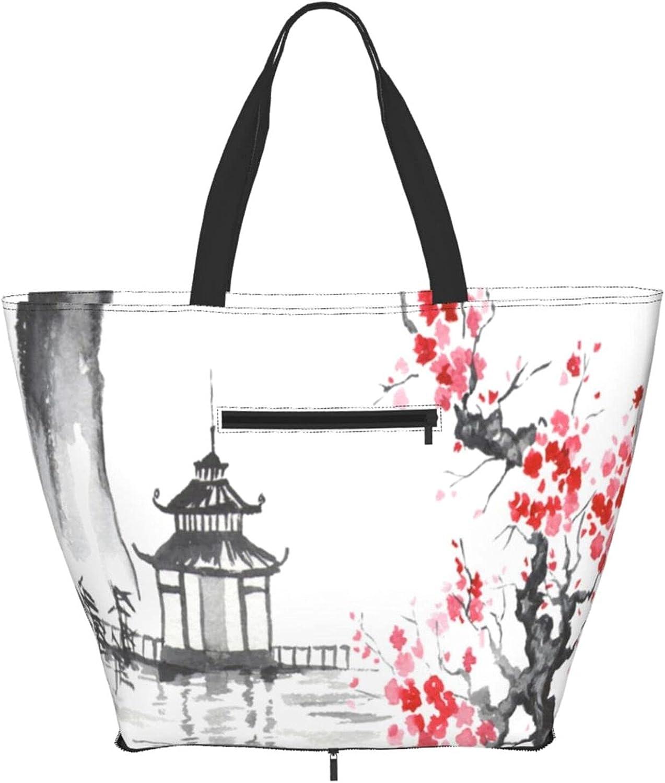 Shoulder Tote Bag Japan Sakura Temple H Top Satchel sold out Handle Purse Outlet SALE