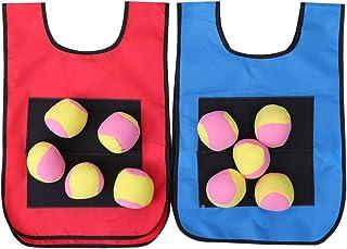 TOYANDONA Dodgeball Game Vests with Dodgeball Balls Sticky Ball Vest for Kids Outdoor Activity Game