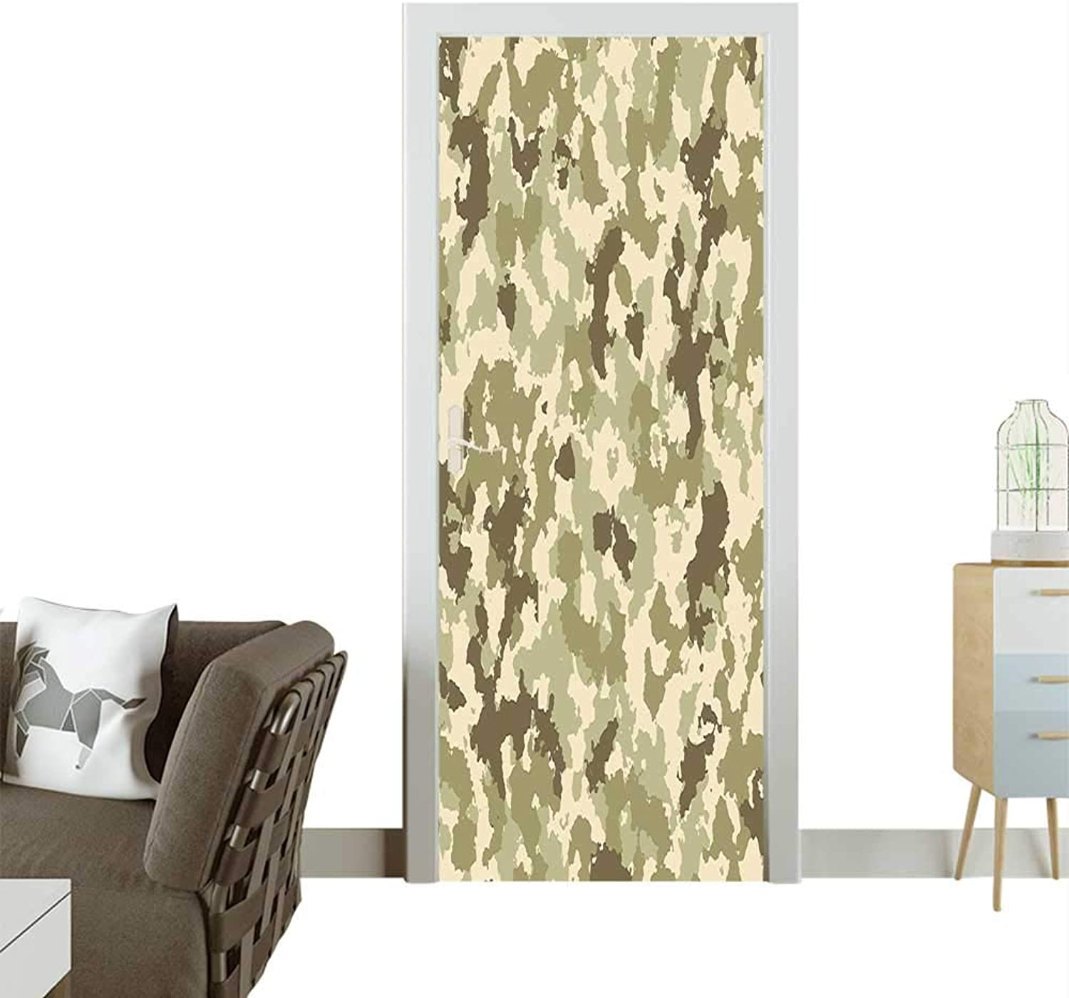 Homesonne Door Decals Camouflage Pattern Classical Jungle Survival Army Green Pale Green Pressure resistantW35.4 x H78.7 INCH