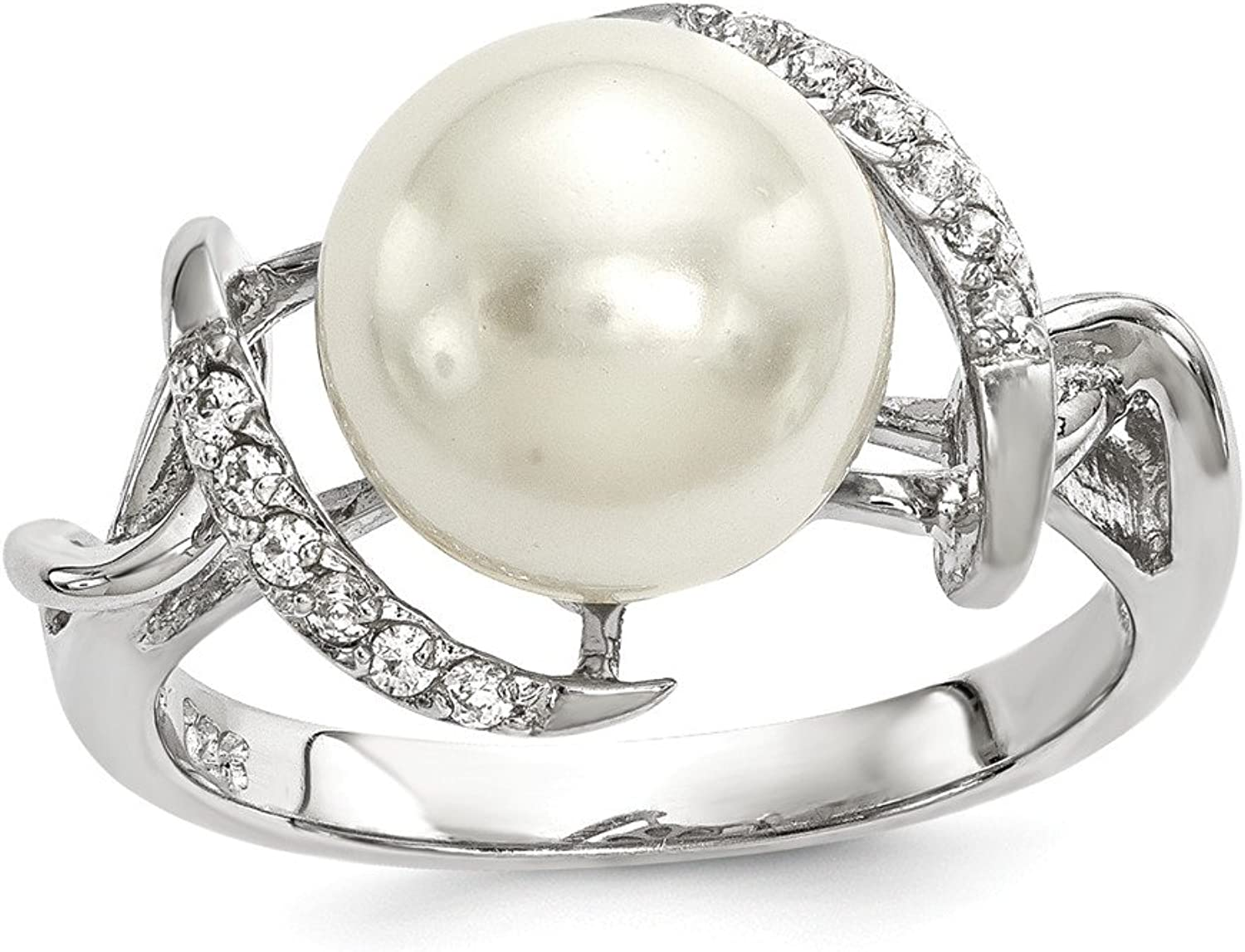 925 Sterling Silver Majestick 1011mm White Shell Pearl Cubic Zirconia Engagement Ring
