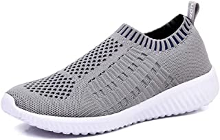 KONHILL Women's Lightweight Casual Walking Athletic Shoes Breathable Mesh Work Slip-on Sneakers