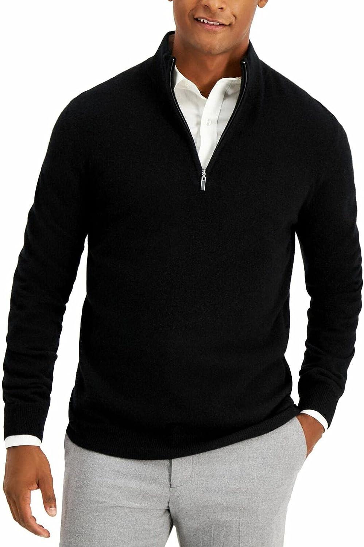 Tasso Elba Mens Sweater Pullover Quarter-Zip Mock Neck Black XL