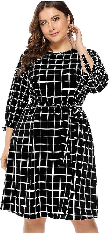 FUZHUANGHM Elegant Plaid Belts Vintage Dress Women O Neck 3 4 Sleeves Spring Office Dress Black Party