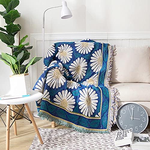 haoyunlai Manta para Descanso Siesta Dormitorio Sofa Silla,Manta de Punto Manta de Flujo Decorativo para el hogar,Sillón Sofá Conjunto Manta de Viaje Alfombra-Azul_230 * 250