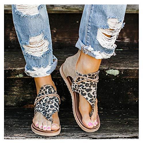 Léopard Sandales-Femmes Gladiator Comfy Sandales, Sandales Plage Femmes, Sandales pour Femme avec séparateur d'orteils, Chaussure Mode Nu-Pieds Sandale Claquette