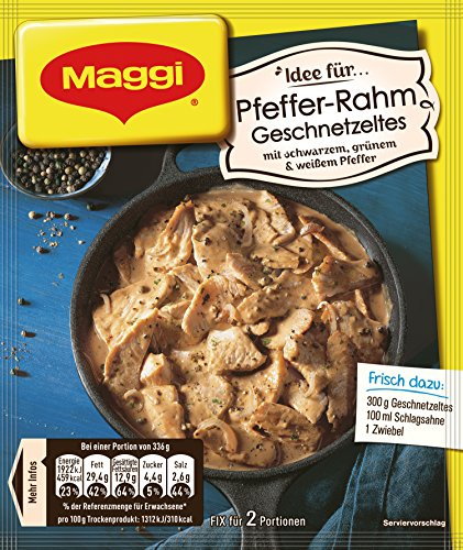 Maggi fix & frisch, Pfeffer-Rahm Geschnetzeltes, 31 g Beutel, ergibt 2 Portionen, 20er Pack (20 x 31g)