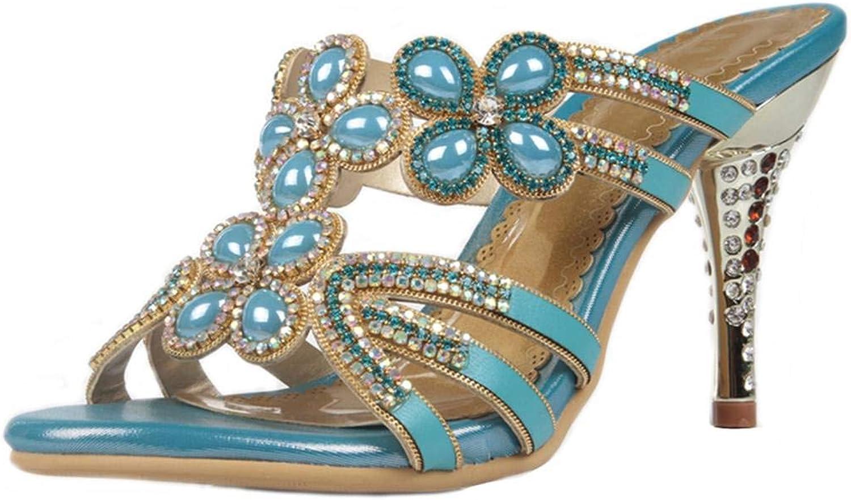 LizForm Women Rhinestone Studded Wedding Heeled Sandals Open Toe Evening High Heels