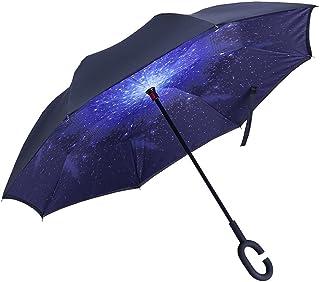 Evfun 逆転傘 長傘 逆さ傘 逆折り式傘 自立傘 耐風傘 日傘 UVカット 車用 晴雨兼用 ビジネス用(星空)