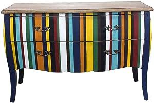 Meubletmoi Commode 2 tiroirs Rayures Couleurs Multicolore - Style Louis XV, Maison de Famille, Classique Contemporain - Collection Héritage