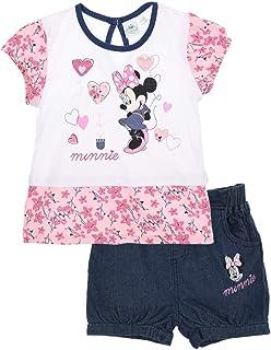 f08a5223d9391 Minnie Ensemble Short et T-Shirt bébé Fille Rose et Marine de 3 à 24mois