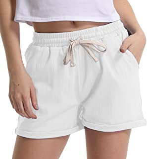 Gooket Women's Elastic Waist Cotton Linen Casual Beach Shorts with Drawstring