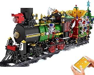Modèle de train télécommandé avec moteur, servomoteur, télécommande 2,4 GHz et accessoires de rail.