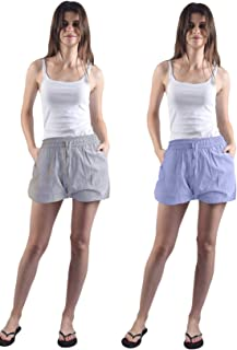 Gemmy Days (183STBLGYF Womens Cotton Half Pants Shorts Casual wear/Yarn Dyed. Stripe Design in Blue and Grey. Size Free.